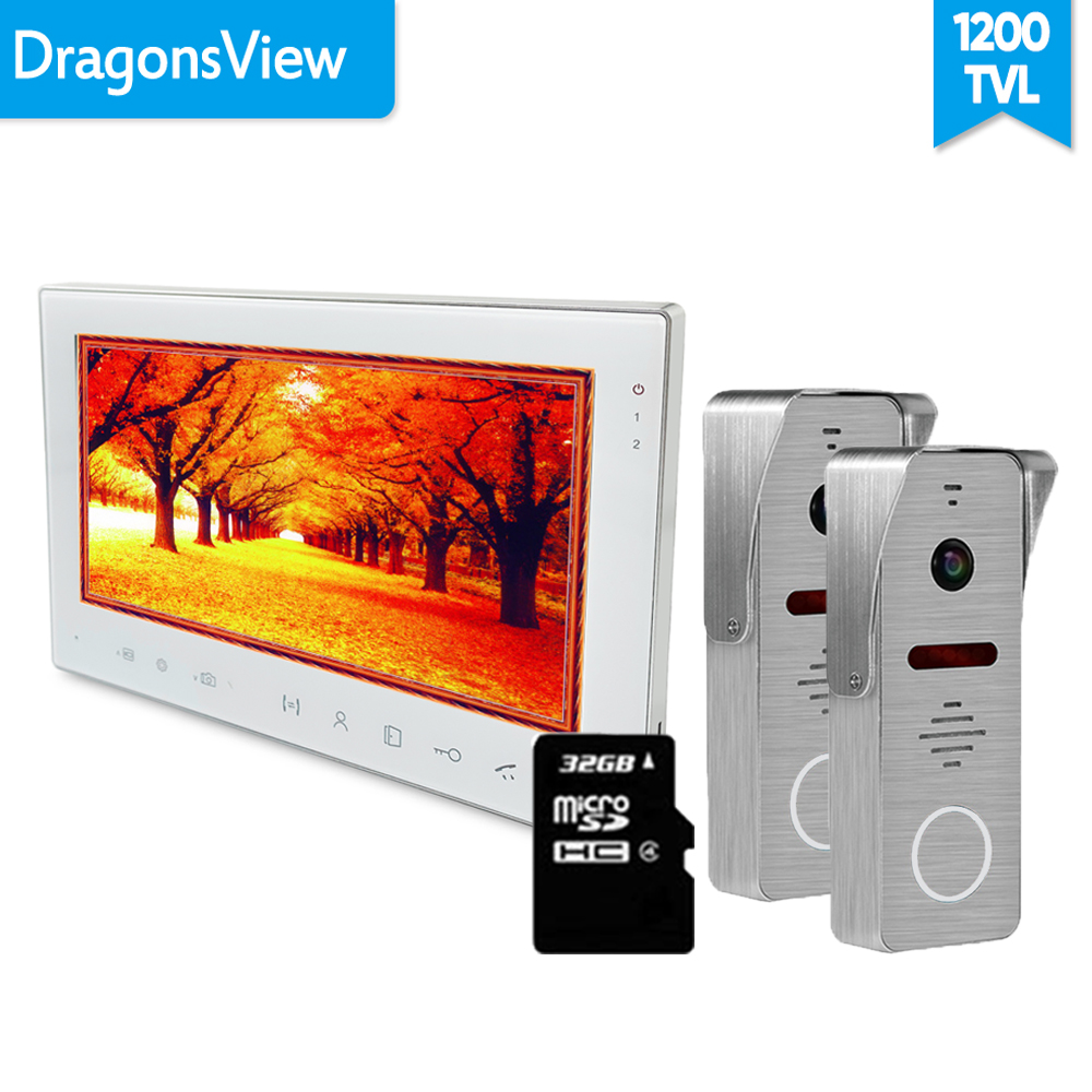 [Wide Angle] Dragonsview 7 Inch Video Intercom Video Door Phone Doorbell With Camera Record Unlock 130 Degree IR  1V2