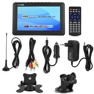 Leastar 7 Polegada portátil suporte de carro tv mini dvb-t/t2 televisão digital com suporte 1080p vídeos (plugue da ue 110-240v)