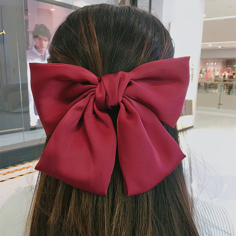 Korean Big Hair Bow Ties Hair Clips Satin Two Layer Butterfly Bow Hairpin Girl Hair Accessories For Women Bowknot Hairpins