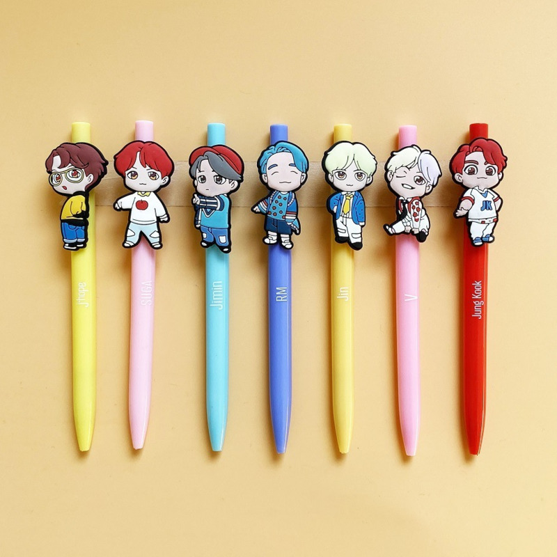2020 NEW  Bangtan Boys Kawaii Three-dimensional Character Soft Gel Pen Cute Cartoon Shape Ball Pen Around The Same Paragraph