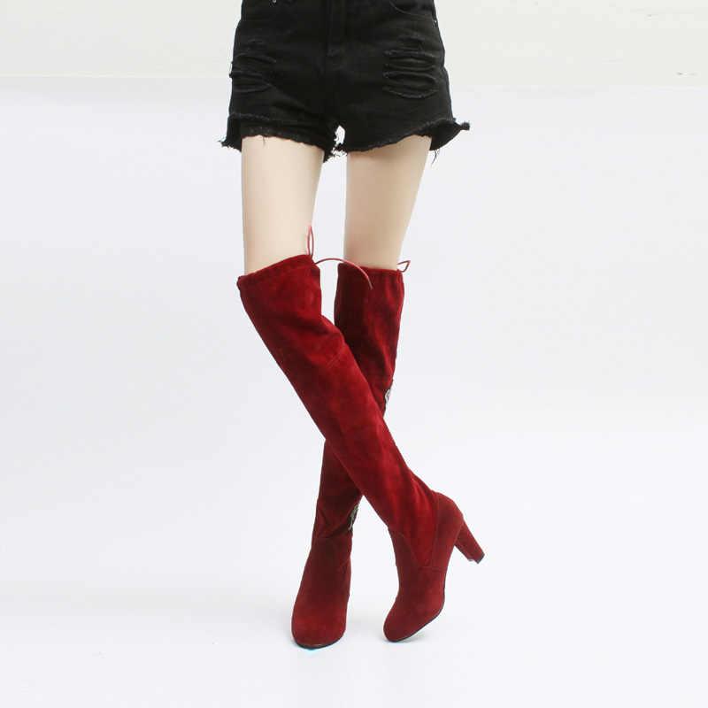 גודל גדול 35-43 חורף מעל הברך מגפי נשים למתוח ירך גבוהה סקסי אישה נעלי ארוך בוטה Feminina zapatos de mujer WSH3443