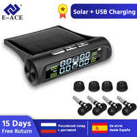 E-ACE Solar Power Smart Car TPMS Tyre Pressure Monitoring System Digital Display Auto Security Alarm Systems Tyre Pressure
