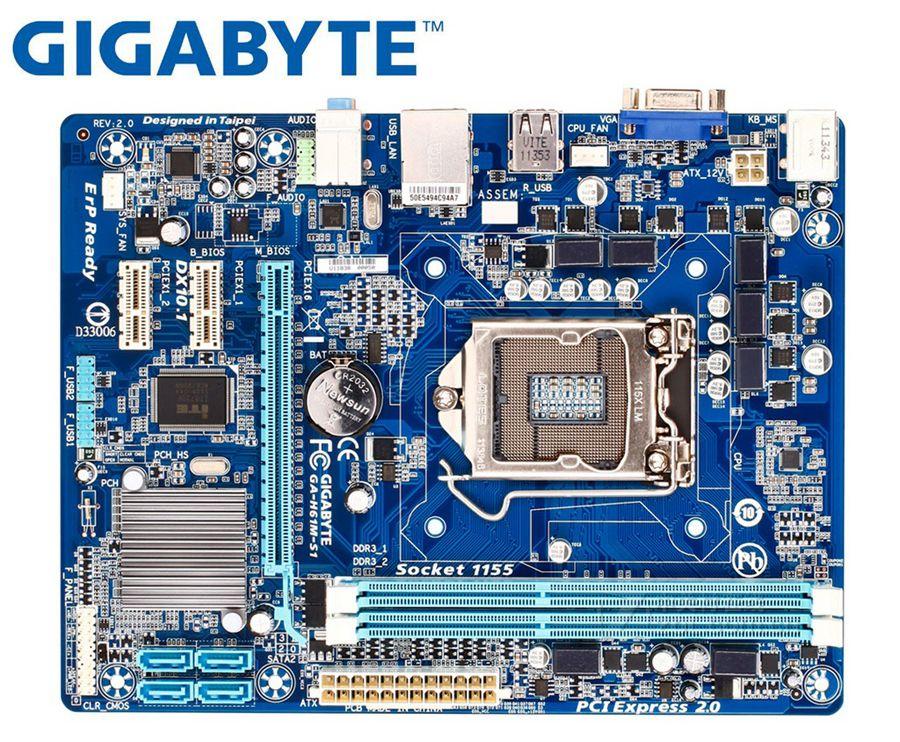Gigabyte GA-H61M-S1 Original Motherboard LGA 1155 DDR3 H61M-S1 16GB Support I3 I5 I7 H61 USED Desktop Motherboard