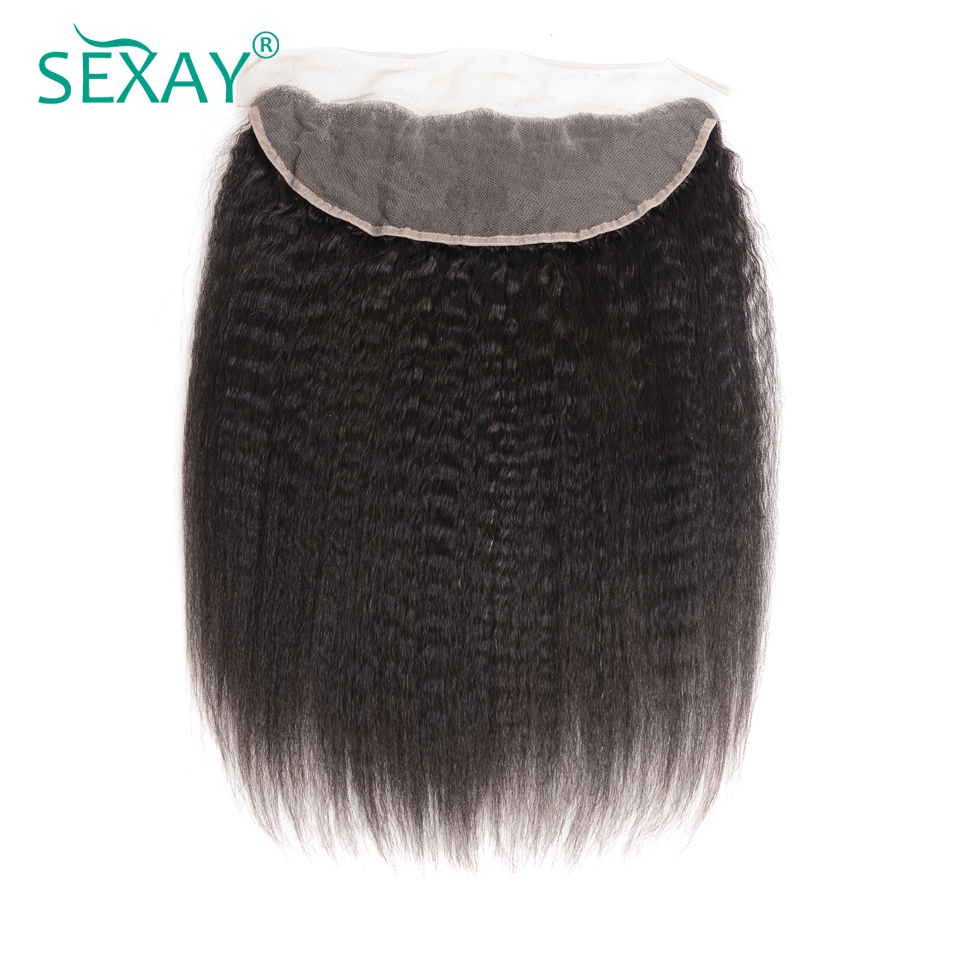Sexay 13x4 Lace Frontal With Baby Hair Brazilian Kinky Straight Lace Frontal Natural Black Pre-Colored Remy Yaki Human Hair 1PC