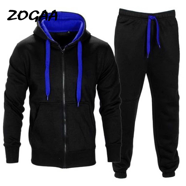 ZOGAA 2020 Men's Casual Explosion Slim Hip Hop European American Wind Hoodie Solid Color Sweatshirt Pants Set Men Sweat Suit