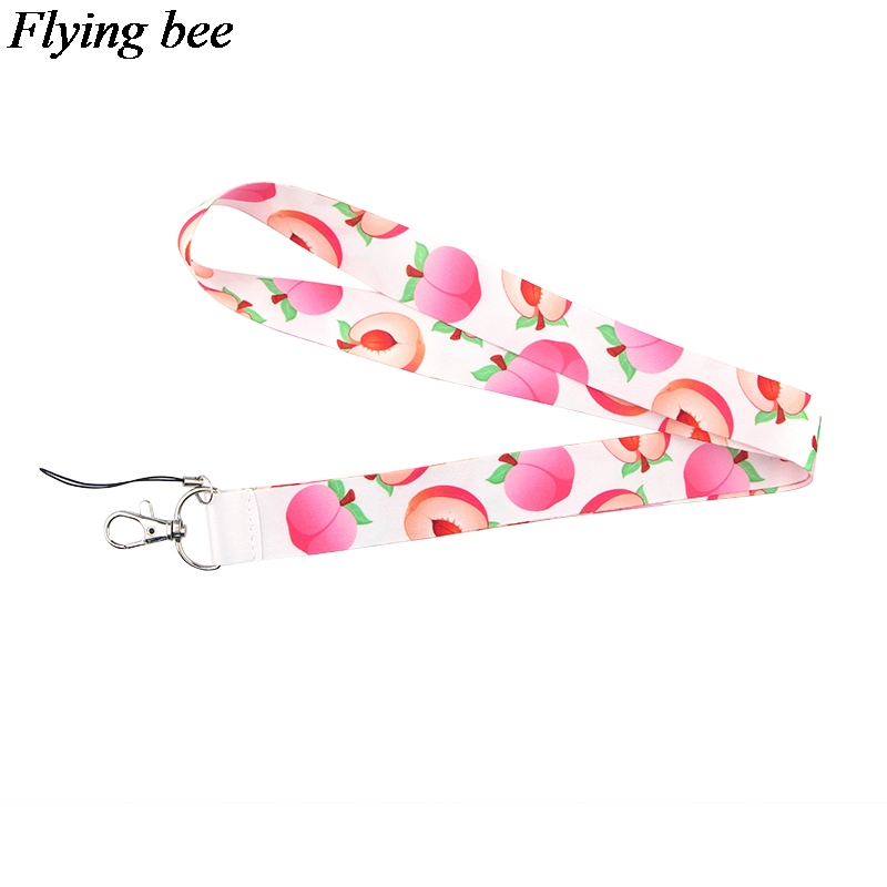 Flyingbee Peach Fruit Keychain Creative Funny Phone Lanyard Women Fashion Strap Neck Lanyards For ID Card Phone Keys X0618