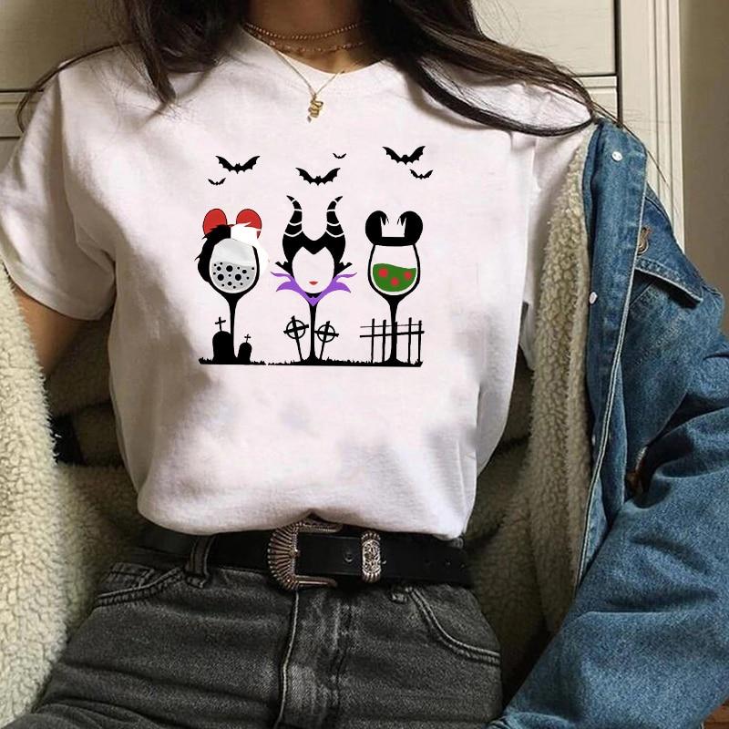 2019 Graphic Hocus Pocus Witch Cartoon Printed Short Sleeve Printed T-shirt Shirt Halloween Female Tee Shirt Women Tops