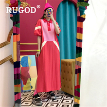 RUGOD Chic patchwork long women dress Vintage turn-down collar office ladies dresses vestidos Fashion short sleeve summer