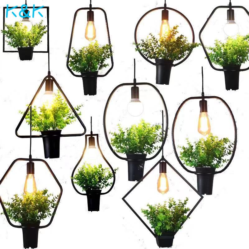 Modern Plant Flower Lustre Pendant Lights Geometric Iron Green Lustres Hanging Lamp Dining Room Clothing Suspension Lighting