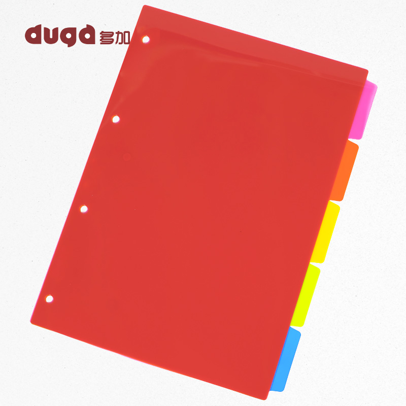 A4 5 Pages Colored PP Binder Index Divider 4 Holes Archives Files Color Index Binder Office Supplies