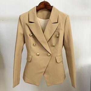 Image 4 - En kaliteli yeni şık 2020 klasik tasarımcı Blazer kadın kruvaze Metal aslan düğme Blazer ceket dış giyim haki