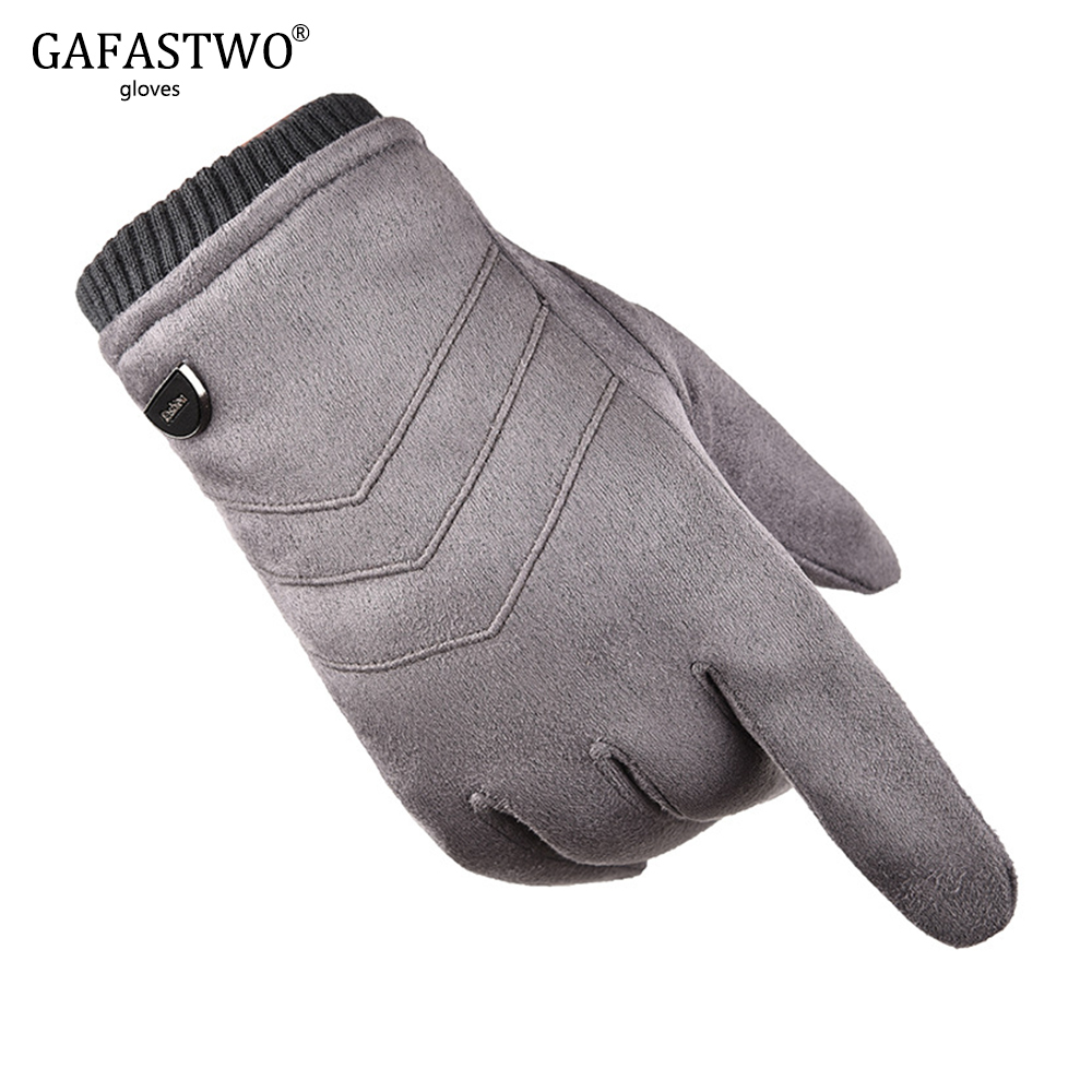 Winter Plus Velvet Thick Suede Mens Warm Gloves Driving Riding Windproof Casual Touch Screen Gloves