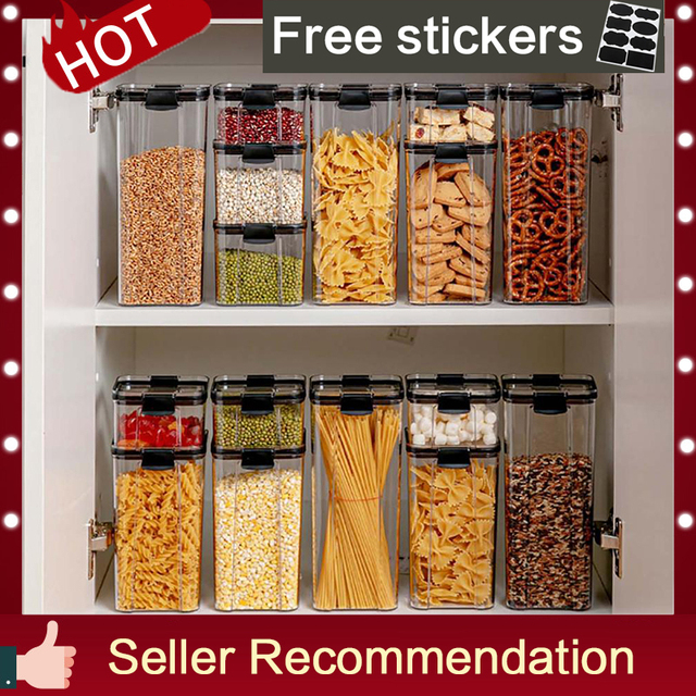 1800ml Dry Food Storage Box Food Containers Transparent Stackable Kitchen Spaghetti Noodles Sealed Tank Cans Organizers  bottles