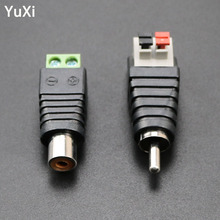 цена на YuXi DIY RCA Male Connector plug Speaker Wire Cable Plug High Quality To Audio Port Female RCA Connector Adapter Jack
