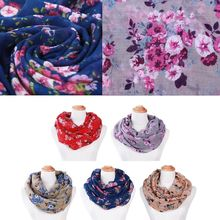 Women Loop Scarves Circle Fashion Floral Printed Cowl Neck Wrap Shawl Vintage cowl neck ruched longline knitwear