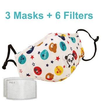 3 PCS Del Fumetto PM2.5 Bambini Maschera Maschera Con 6 Filtri Respiro Bocca Valvola Viso Maschera Per Bambini Lavabile Maschera Maschera di Polvere a prova di sterile In Magazzino 14