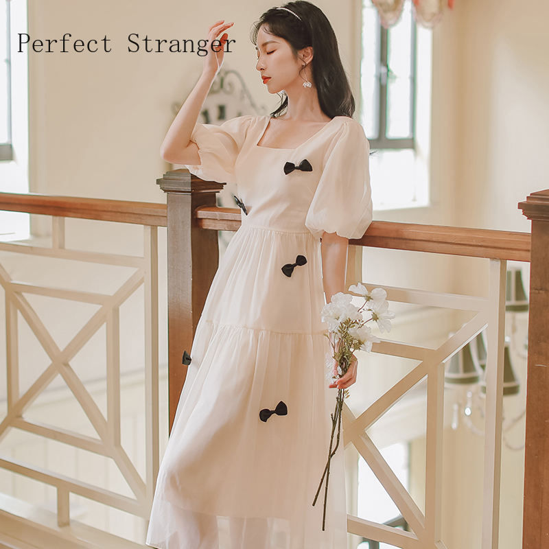 2021 Summer New Arrival French Style High Quality Square Collar Puff Sleeve Bowknot Women Chiffon Long Dress 3