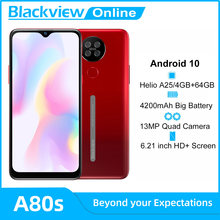 Blackview A80s Android 10 смартфон 4 Гб Оперативная память + 64 Гб Встроенная память Octa Core 13MP сзади Камера 4200 мА/ч, отпечаток лица Разблокируйте 4G мобильны...