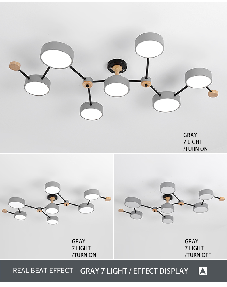 BOTIMI Modern Designer 220V LED Chandelier With Gray Metal Lampshade For Living Room White Iron Ceiling Mounted Home Lighting
