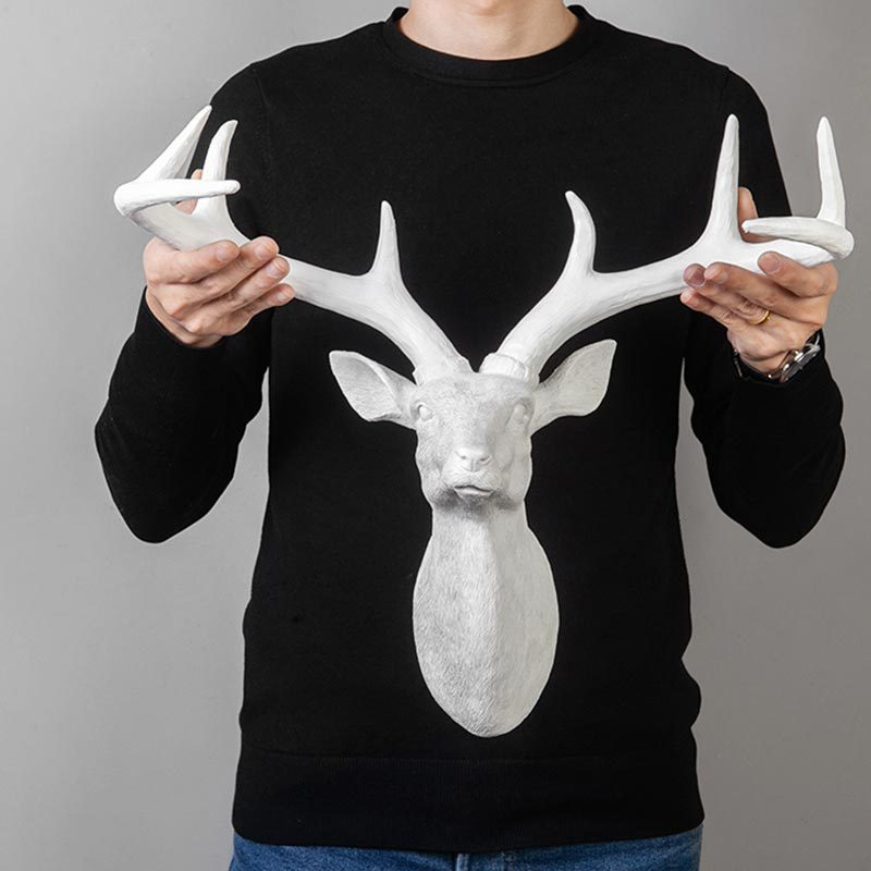 Creative Deer Head Statue Ornaments Resin Art Wall Hanging Sculpture Nordic Home Decoration Accessories Abstract Animal Figurine