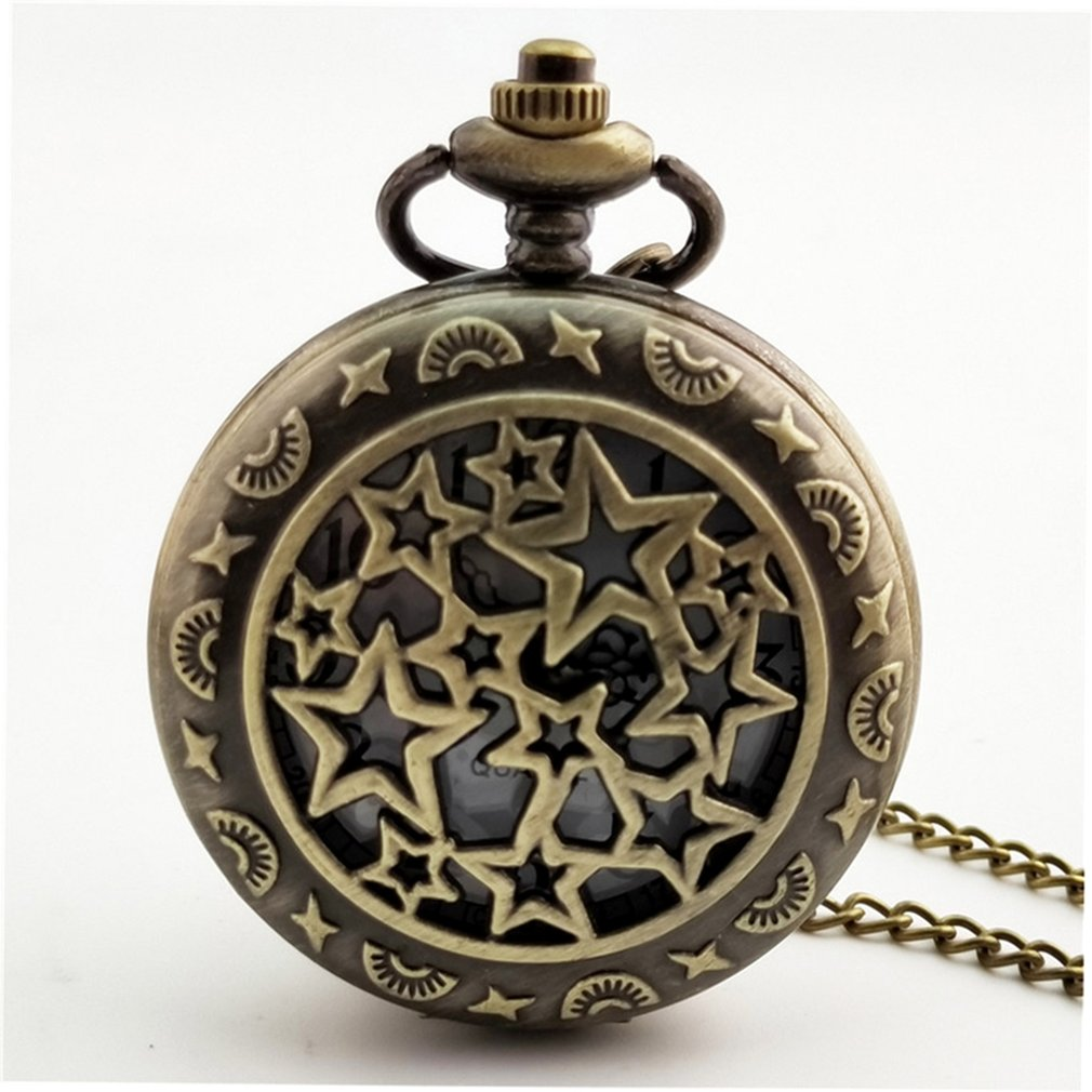 Star Carved Steampunk Pocket Watch Vintage Antique Round Dial Quartz Watch Chain Necklace Pendant Clock For Men Women Classic