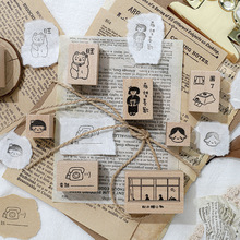 Vintage Cute Girl Boy Wooden Rubber Seals and Stamps Journaling Diy Deco for Scrapbooking Craft Stamp Bullet Journal Supplies