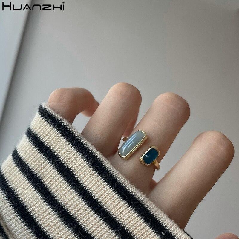 HZ 2020 новые модные постепенные синие эмалированные простые геометрические прямоугольные Позолоченные Металлические Открытые Кольца для же...