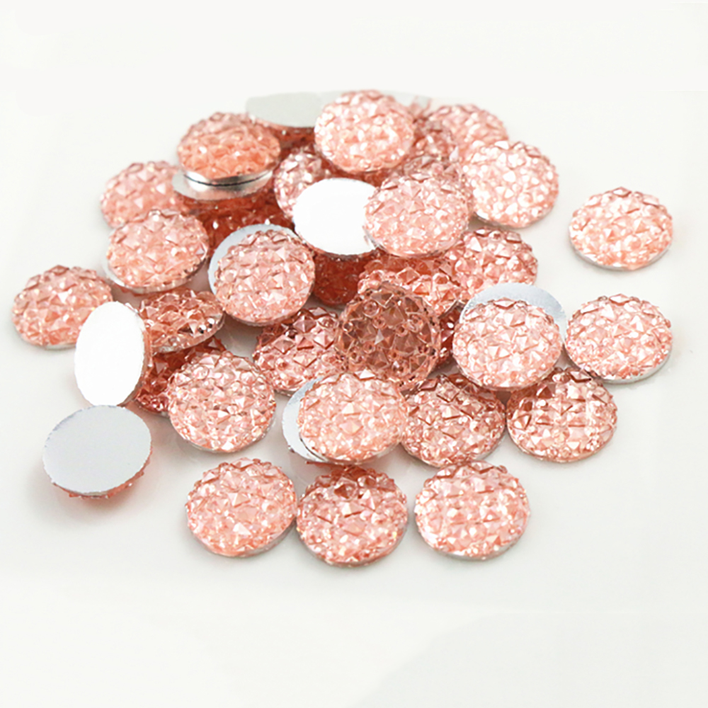 New Fashion 40pcs 12mm Pink Color Flat Back Resin Cabochons Cameo  G5-15