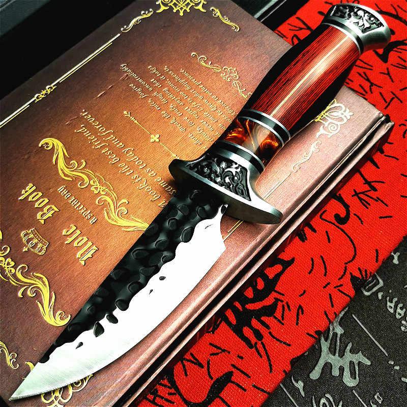 PEGASI el dövme siyah saplı fırça sharp taktik düz bıçak renkli ahşap saplı moda açık orman av bıçağı