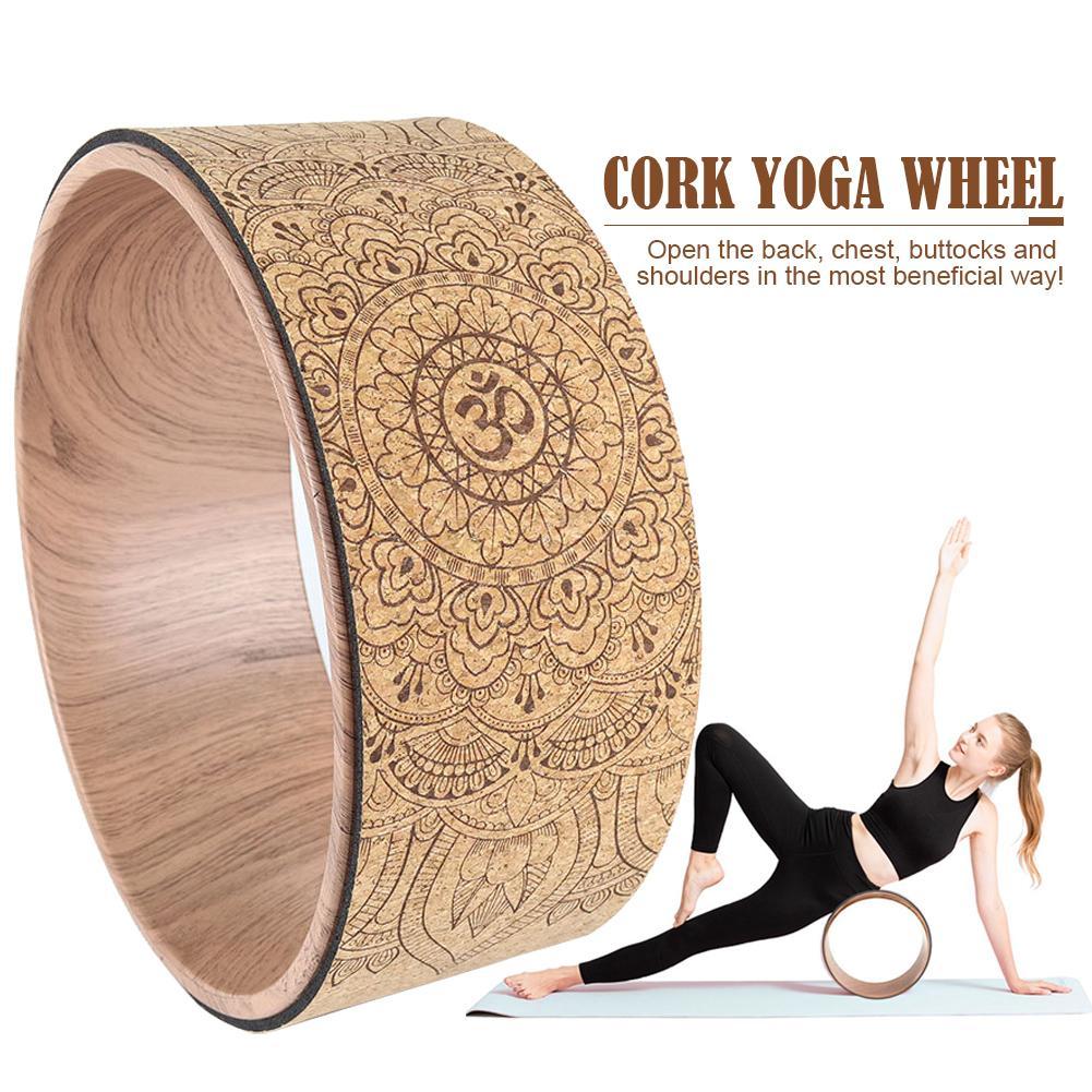 Círculo para Yoga Rolo para Alongamento Mandala Yoga Roda Natural Cortiça Massagem Volta Curva Pilates Pose Flexibilidade