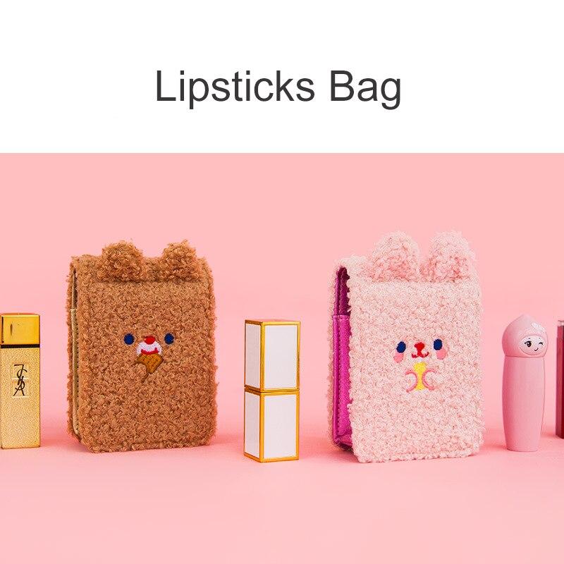 Bentoy Cartoon Plush Bear Lipsticks Bag With Mirror Women Portable Mini Cosmetic Bag Lipsticks Storage Laser PU Bag