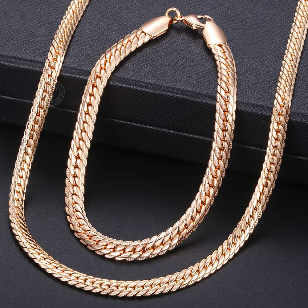 Fashion Jewelry Set for Women 585 Rose Gold Braided Foxtail Bead Link Chain Necklace Bracelet Set Wedding Jewelry Gift CS16A 6
