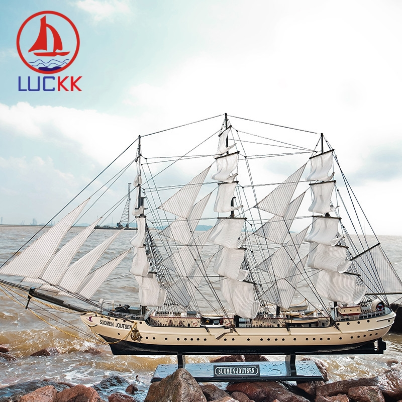 LUCKK 130CM Mediterranean Style White Swan Wooden Sailboat Model Assembling Building Kits Ships Figurine Souvenir Free Shipping