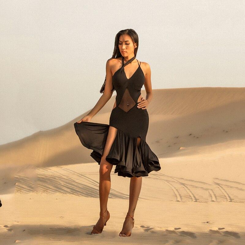 Latin Dance Dress Black Sexy Latin Skirts Salsa Dress Latin / Cha Cha / Rumba / Samba Adult Performance Dance Clothing DQS2519