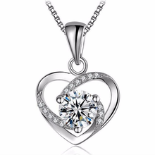 Fashion Silver Color Women Casual Heart-shaped Pendant Necklace for Ladies Birthday Christmas Valentine Jewelry
