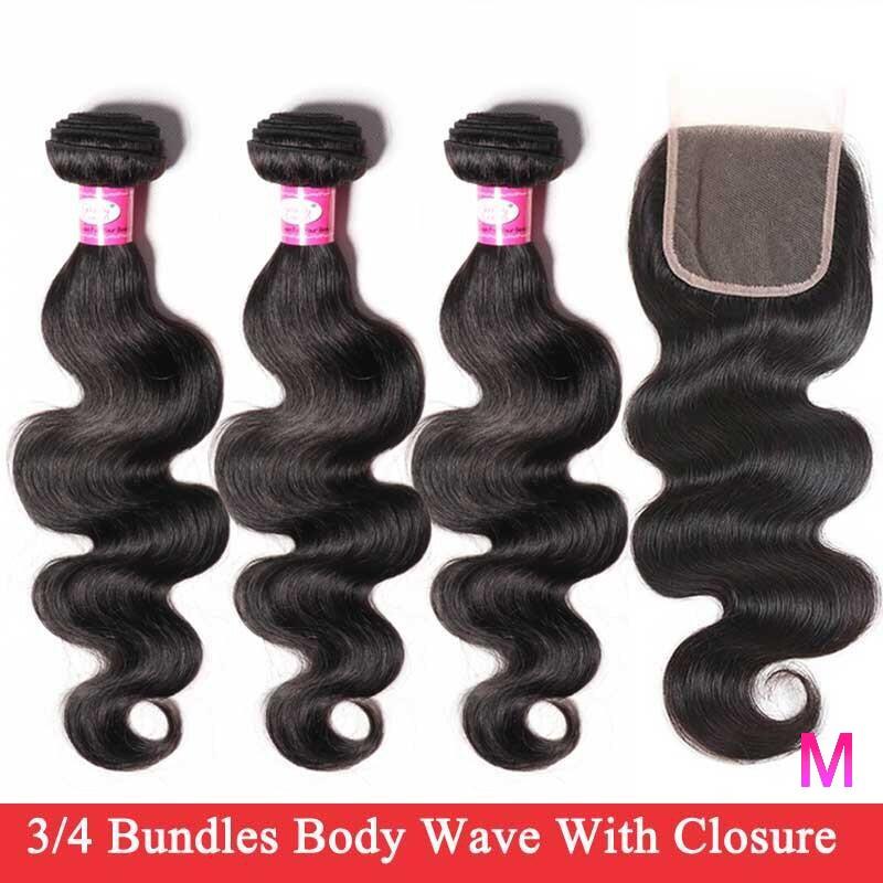 Brazilian Hair Weave Bundles With Closure Body Wave Bundles With Closure Non-Remy Human Hair 3/4 Bundles With Closure