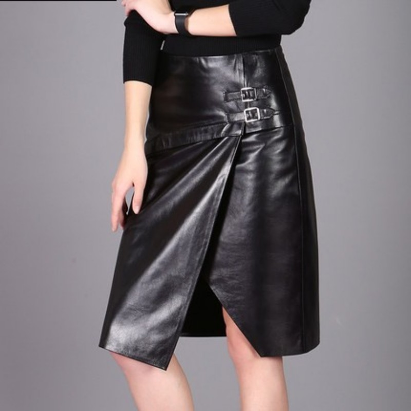 2020 New Arrival Women Skirts Genuine Leather Streetwear Casual Office Lady Sheepskin High Waist Wrap Female Pencil Skirts