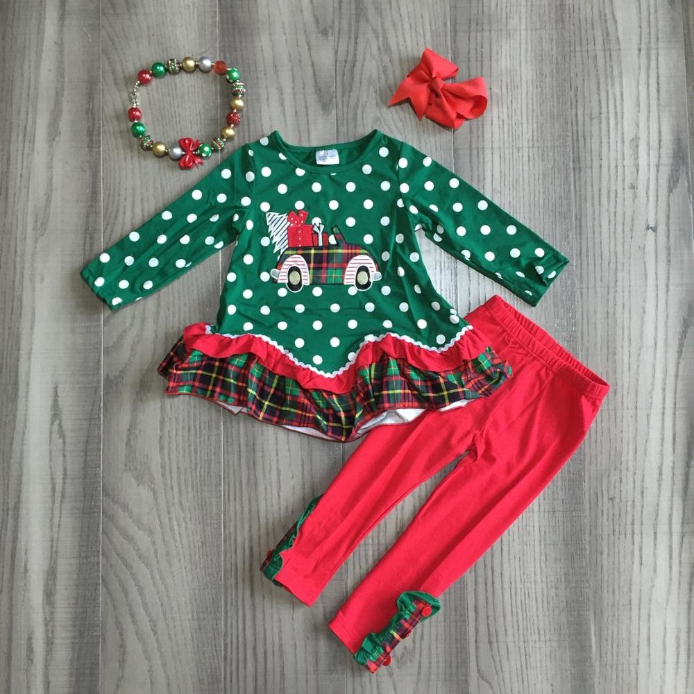 Girlymax Christmas truck dark green Fall/Winter baby girls plaid outfits pants set clothes ruffles boutique match accessories 2