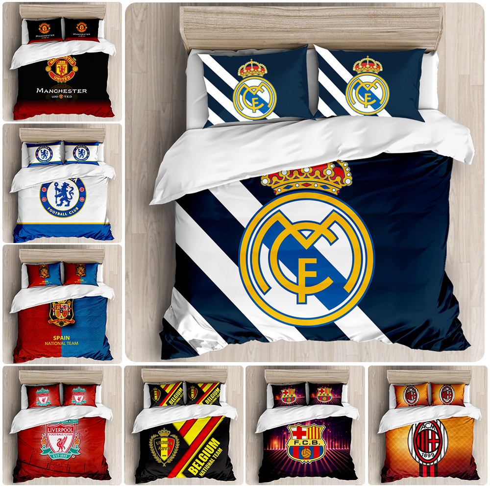 Football Club Bed Sets Linen 3d Bedding Set King Size Comforter Set Twin Single Duvet Cover NO Bed Sheets Jogo De Cama Casal 3pc|Bedding Sets| - AliExpress