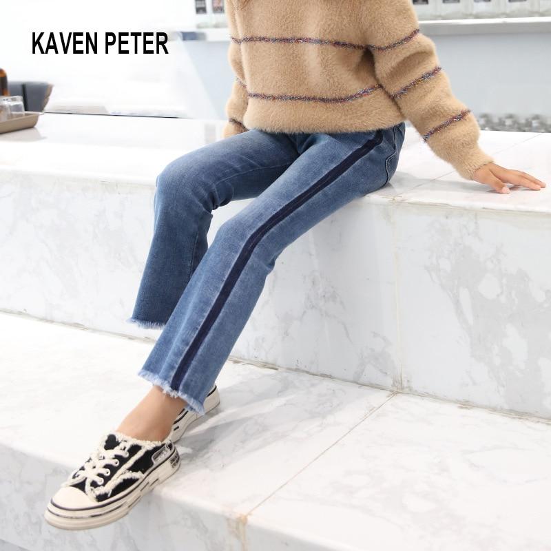 Girls trousers boot cut jeans 100% cotton stretchy soft denim pants cowboy long pants kids flared leisure jeans children