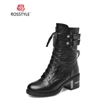ROSSTYLE Luxury Woman Basic Ankle Boot High Quality Genuine Leather Round Toe Square Heel Shoes Solid Lace-up Soft Buckle Boots цена 2017