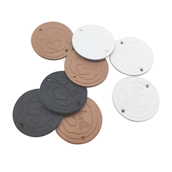 48pcs 25mm hand made with love round pu leather labels for gift handmade sewing tags with love heart hand made clothes label win win logo hand made leather labels for gift sewing win logo hand made tags for clothes gift handmade leather sewing label