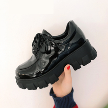 Chunky Sneakers Women Platform Oxfords Brogue Flats Shoes Patent Leathe