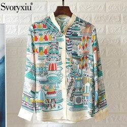 Svoryxiu High-End Silk Blouse Shirt Women's Long Sleeve Colorful Dessert Print Spring Summer Casual Loose Blouses Top