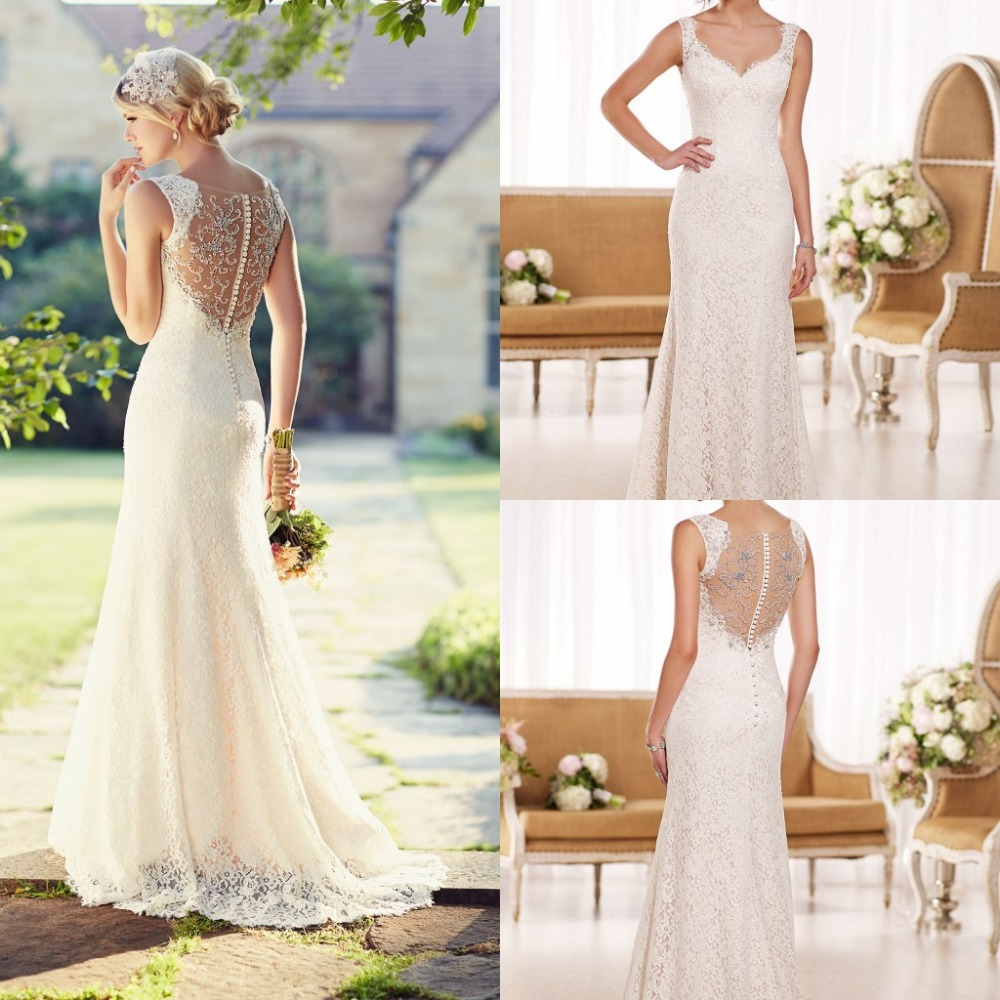 2020 Wedding Dresses A-Line Elegant Lace V-Neck Beading Sleeveless Button Hollow Sweep Train Fashion Dress