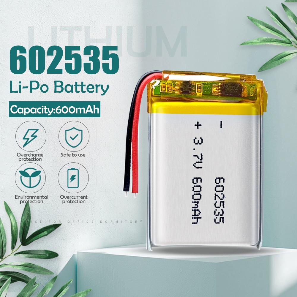 3.7V 35*25*6mm 600mah 602535 062535 litowo-polimerowy akumulator litowo-jonowy do słuchawki z bluetooth tachograf GPS wideorejestrator samochodowy