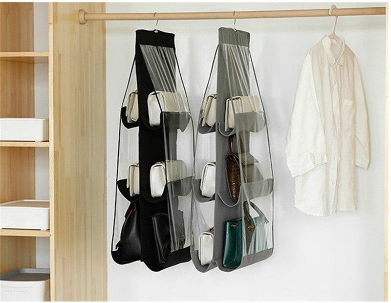 Hanging Handbag Organizer,6 Pockets Shelf Bag Storage Holder Wardrobe Closets