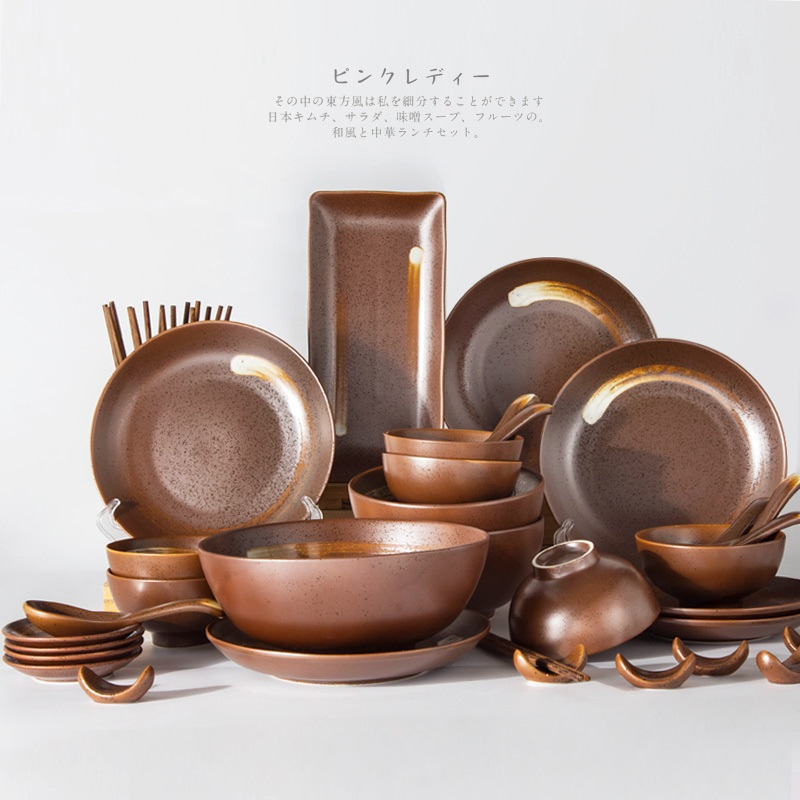 wedding 42 pieces Japanese cutlery sets creative and wind dishes bowls saucers pottery dishes personalities tableware bowls in Dinnerware Sets from Home Garden