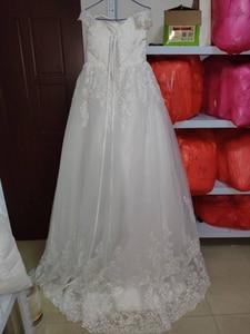 Image 3 - Fansmile 2020 White Off the Shoulder Vestido De Noiva Wedding Dress Train Custom made Plus Size Bridal Tulle Mariage FSM 630T