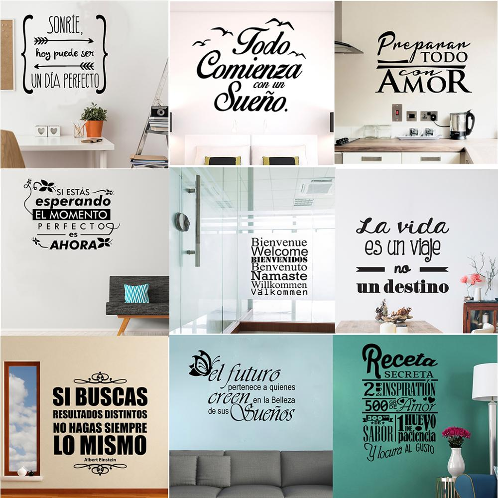 Spanish Quote Phrase Wall Stickers Vinyl Proverb Wall Decals For Room Decoration Wall Sticker Frase Wallpaper Poster Mural